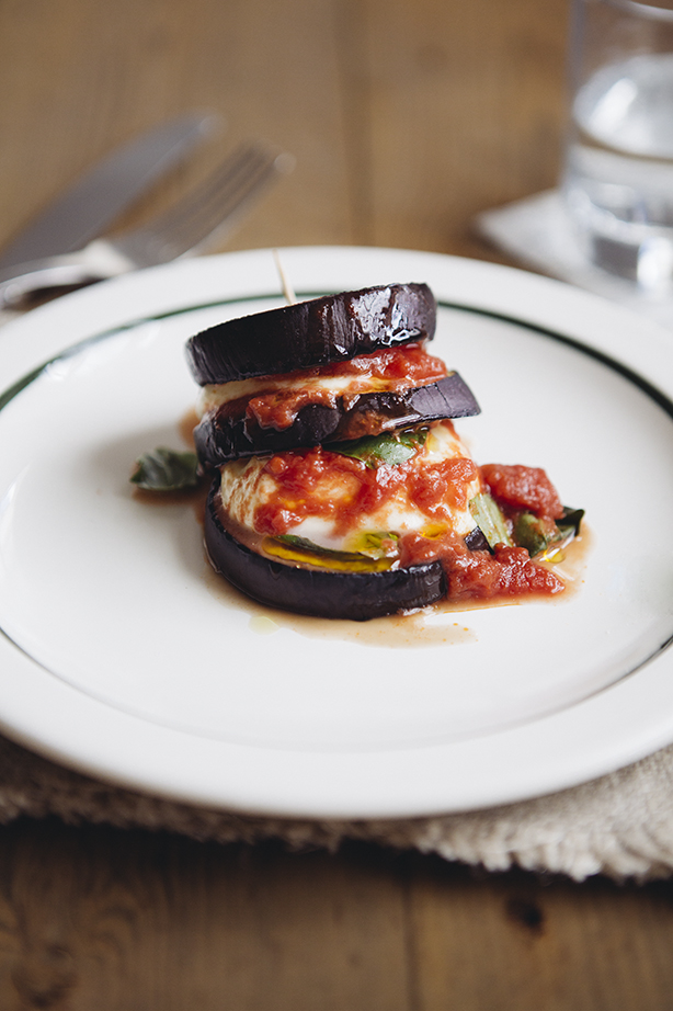 Aubergine and mozzarella stacks by Heather Elizabeth Wilkinson
