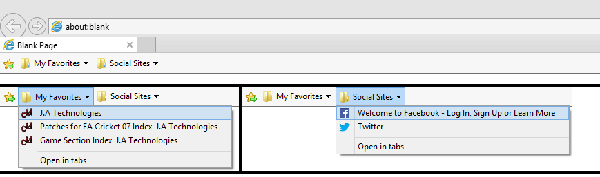 how to add favorites bar drop down on ie