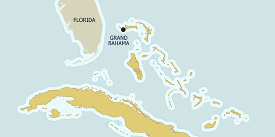 Grand Bahama, the 5th largest island in the Bahamas, is just 55 miles from Florida