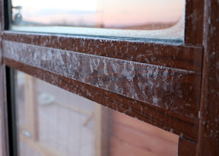Ice on the inside of the balcony doors