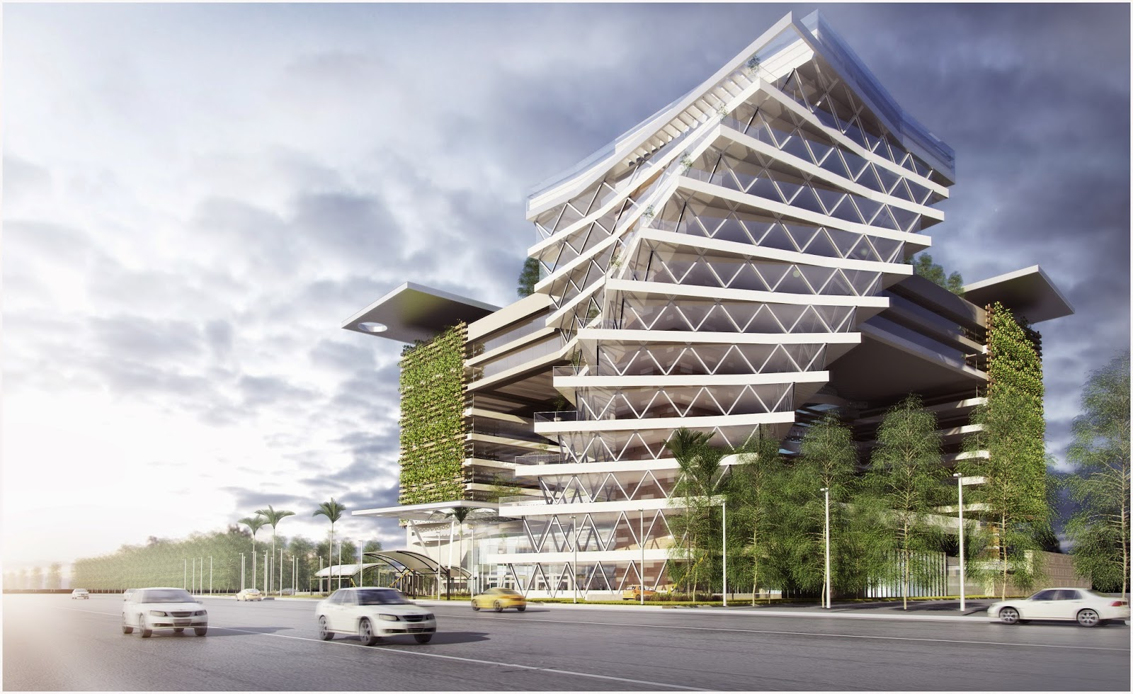 Office Building - Exterior Perspective - Day Light - V Ray Physical ...