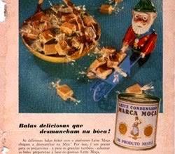 Propaganda do Leite Moça com balas de caramelo nos anos 60.