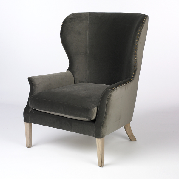 Gray velvet wingback light wood legs