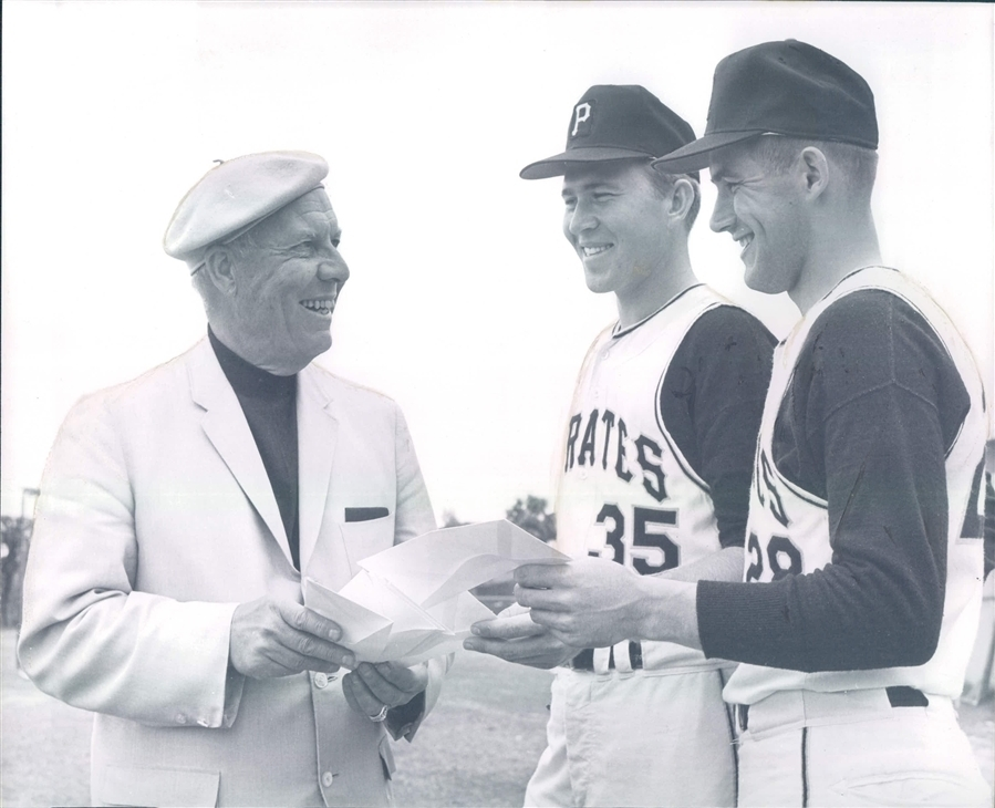 1967 photo: John Gelnar & Steve Blass (with Bob Rice)