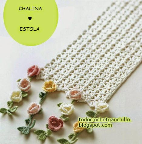 Patrones de chalina ganchillo con flores