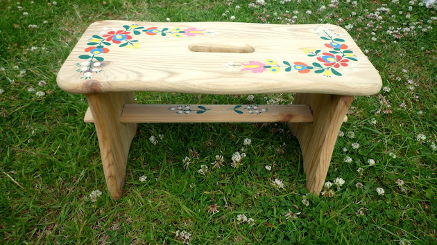Handmade Handpainted Wooden Stool DIY Folklore
