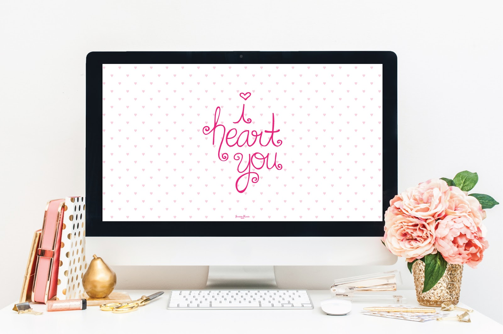 i heart you desktop wallpaper by Jessica Marie Design