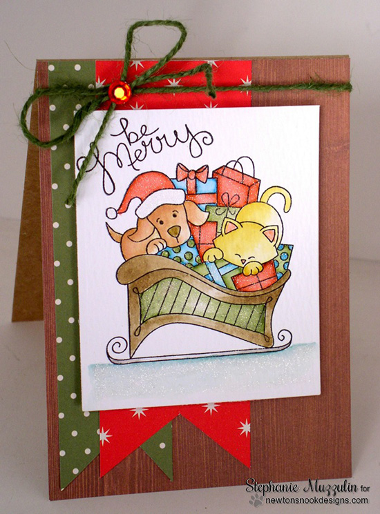Cat and Dog Sleigh Christms card by Stephanie Muzzulin for Newton's Nook Designs - Christmas Delivery Stamp Set