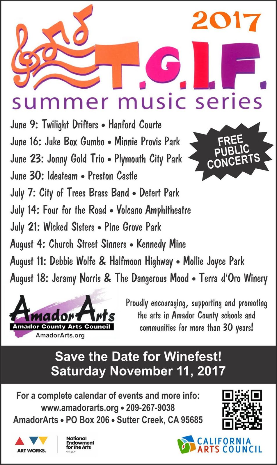 T.G.I.F. Concert Series ~ June-August 2017