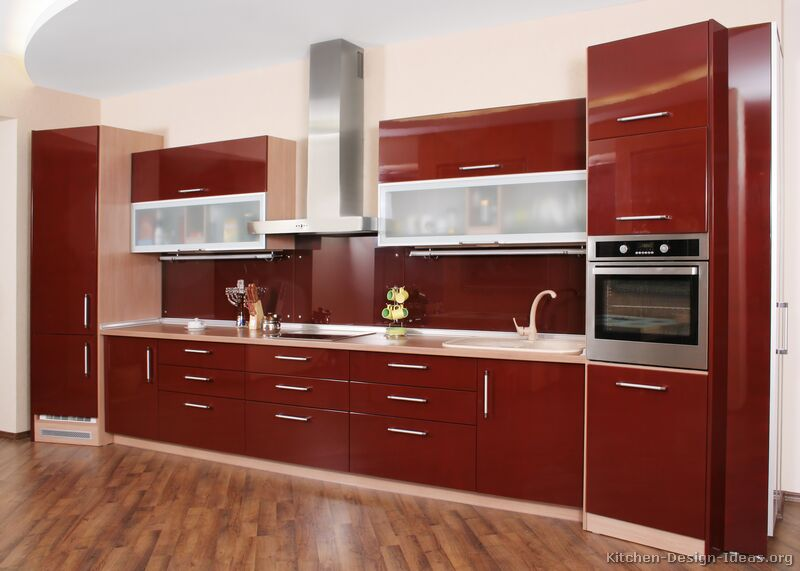Top Interior Design Red Kitchen Cabinets