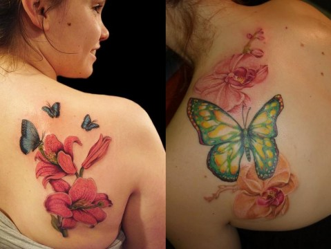2012 Butterfly Tattoos on Shoulder