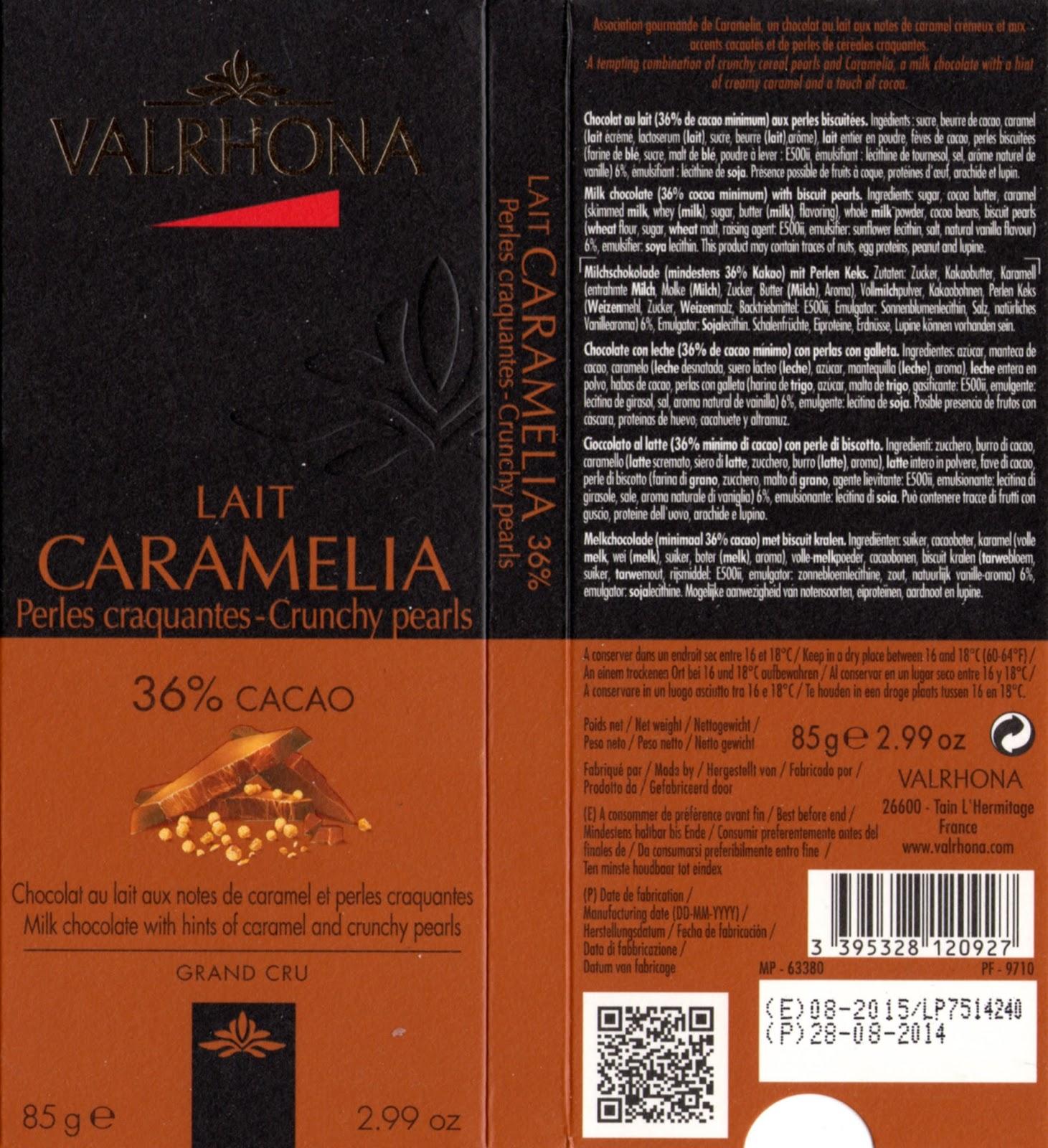 tablette de chocolat lait gourmand valrhona lait caramelia perles craquantes 36