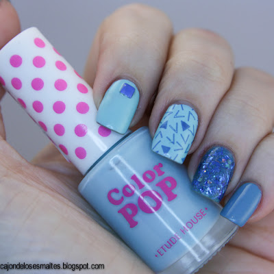 mix and match nail art blue azul