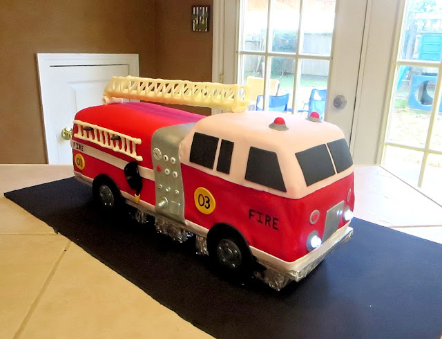 3D Fire Truck Cake - Front Angle View