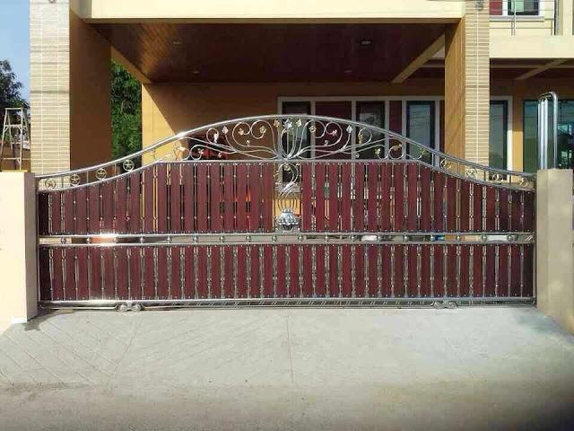 ประตูรั้วสแตนเลสผสมไม้