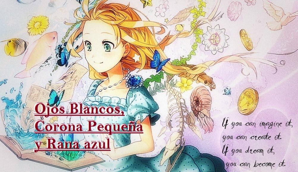 Ojos Blancos Corona Pequeña Rana Azul