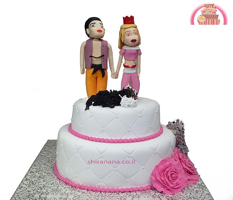 עוגת חתונה מעוצבת מבצק סוכר אלאדין ויסמין