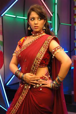 Telugu Actress Charmi Spicy Stills in Red Saree