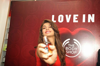 Actress Jacqueline Fernandez Pictures in Red Short Dress at The Body Shop Launch 4