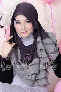 Nuhijab Rample Shawl (RS) - Grey (Toko Jilbab dan Busana Muslimah Terbaru)