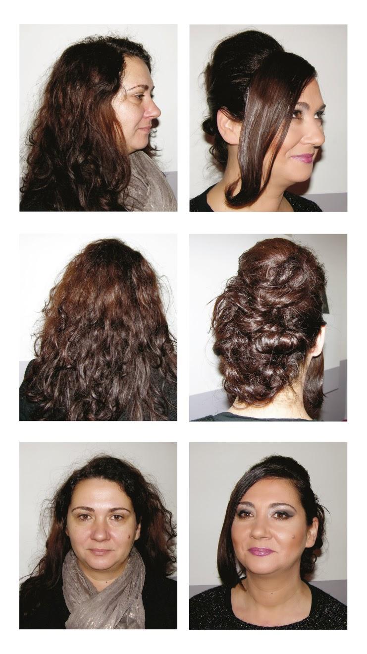 Avant / après avec Sandrine, coiffure et maquillage de soirée réalisés par Eddy,  coiffeur maquilleur à Montpellier au Studio 54