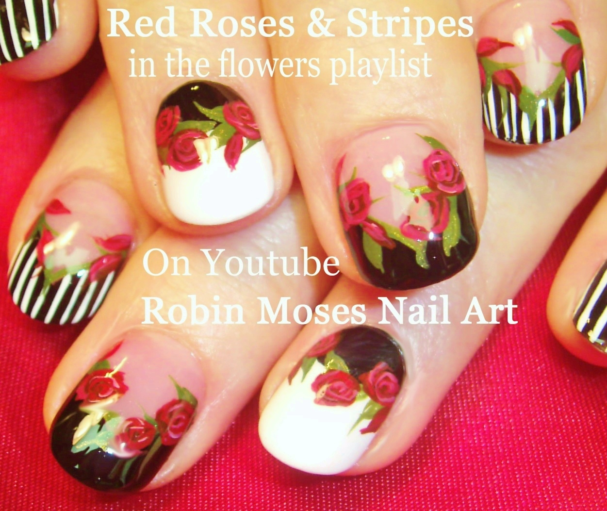 Robin moses nail art red roses on black tips roses do it flower nails playlist of easy flower nail art tutorials floral nail designs ideas for beginners to advanced nail techs solutioingenieria Image collections
