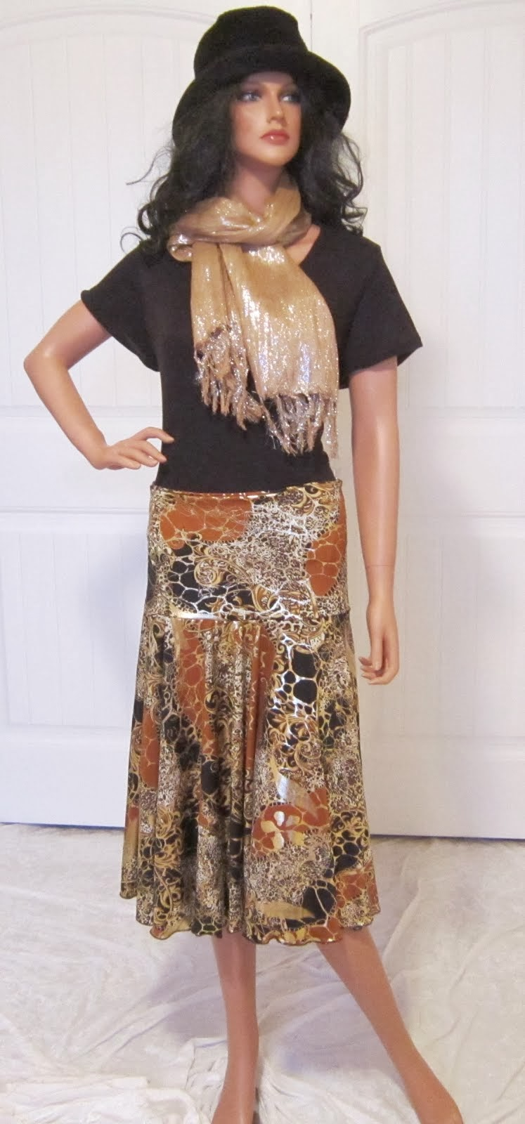 Gold, Rust, and Black Stretch Knit Jersey Full Circle skirt
