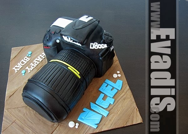 Side view of camera cake