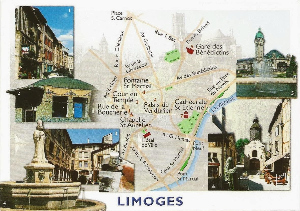 Limoges France  city pictures gallery : Postcards on My Wall: Map of Limoges, France