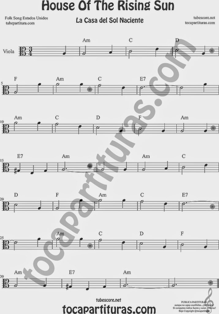 La Casa del Sol Naciente Partitura de Viola Sheet Music for Viola Music Score