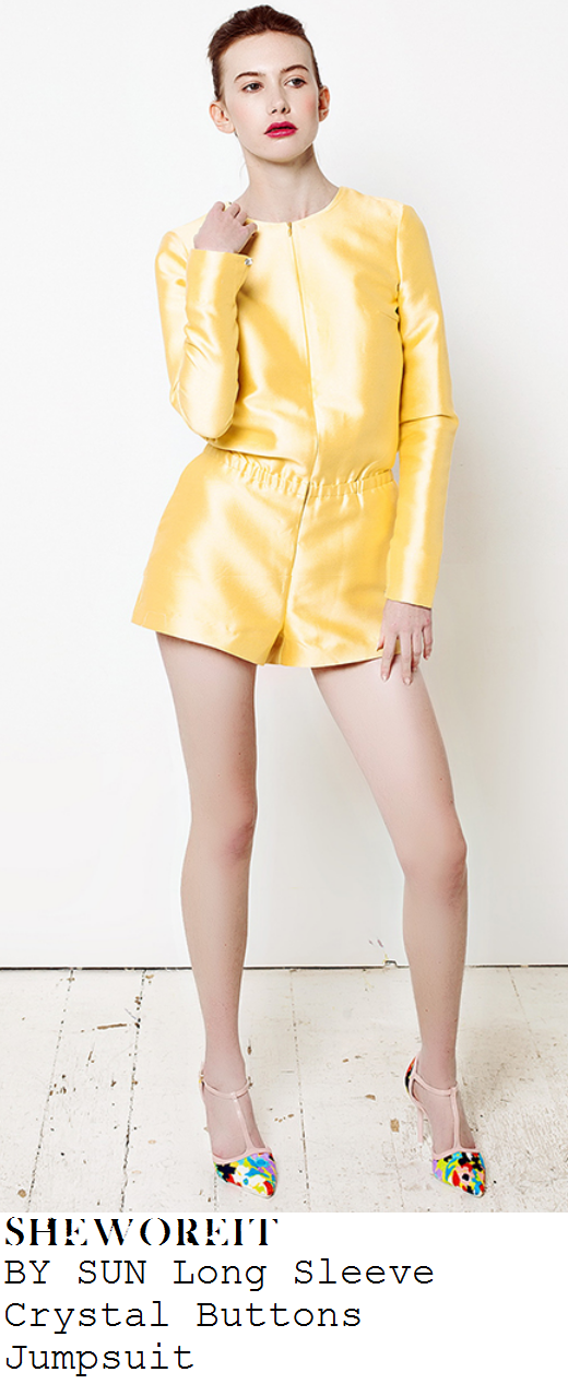 laura-whitmore-bright-yellow-long-slg-sleeve-playsuit-magnum-black-and-pink