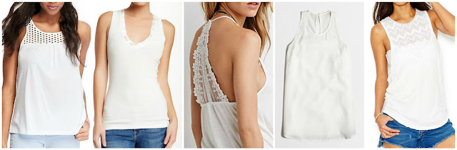 Old Navy Eyelet Yoke Tank $13.99 (regular $16.94)  Heather by Bordeaux Button Detail V-Neck Tank $14.70 (regular $49.00)  Forever 21 Embroidered Lace Back Cami $15.90  J. Crew Factory Racer Tank $39.50 (regular $59.50)  Free People Crochet Graphic Jersey Tank $69.99 (regular $98.00) extra 20% off with code EXTRA, ends 6/15
