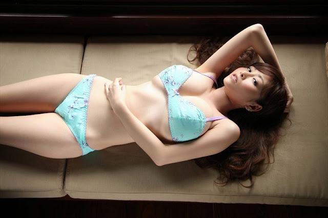 Anri Sugihara in blue lingerie