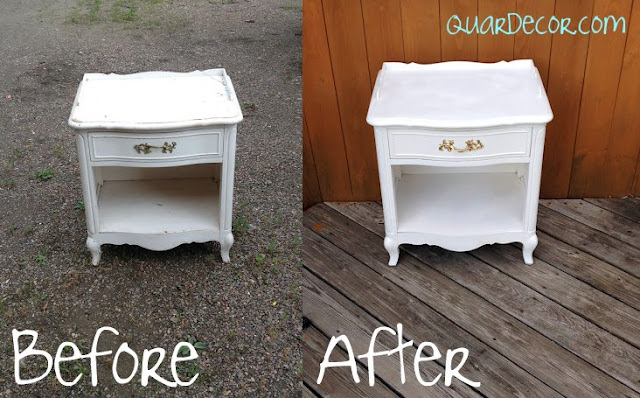 Shabby Chic White Nightstand Repainted Before and After