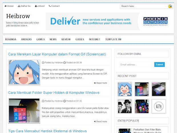 Heibrow V1 Seo Friendly Resposnive Blogger Template