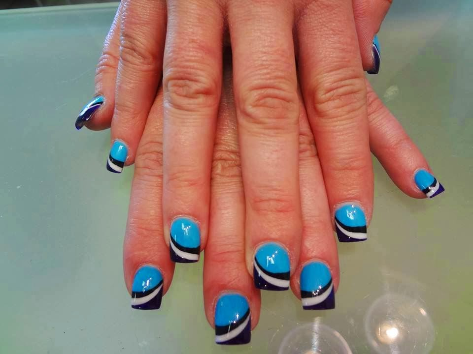 Manicure design LED polishes neon blue, darkest moon blue, black and white
