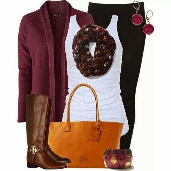 Stylish warm cardigan, scarf, white blouse, black pants, handbag and long boots for fall