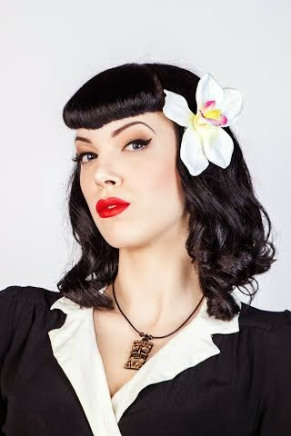 ivory, rockabilly, hairflower, pinup, vintage, orchid, retro
