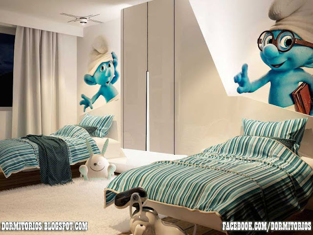 DORMITORIO LOS PITUFOS THE SMURFS BEDROOM DECOR