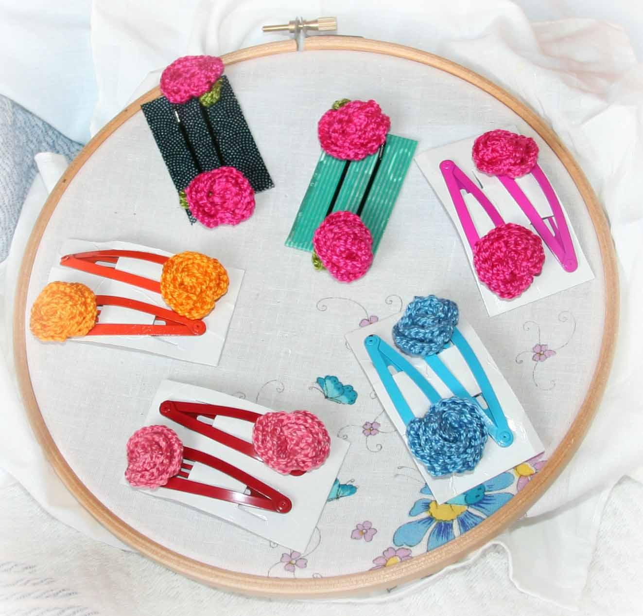 Flores espacio crochet - Como hacer adornos para el pelo ...