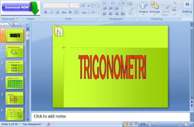 powerpoint, download trigonometri.pptx, free download, materi matematika, contoh, cara membuat, media belajar dengan powerpoint, pptx
