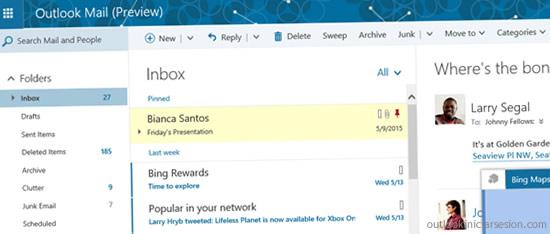 El nuevo diseño de Outlook.com