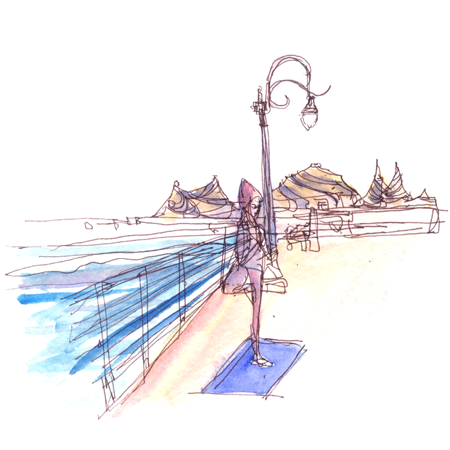 "Shiho Nakaza ""Santa Monica"" yoga beach ""Santa Monica Pier"" ""Los Angeles"" sketching sketch"