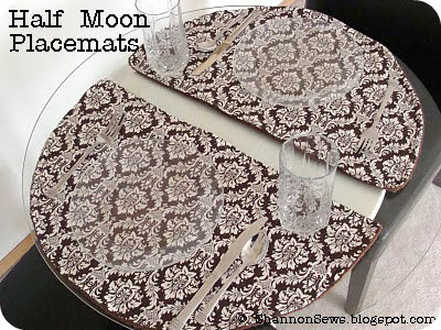 sew placemats for round tables shaped like half moons
