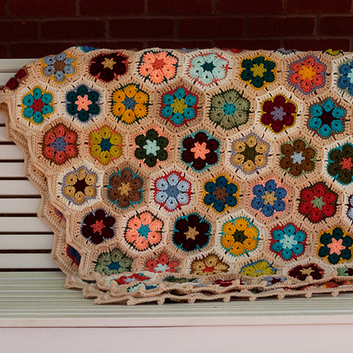 African Flower Hexagon Afghan