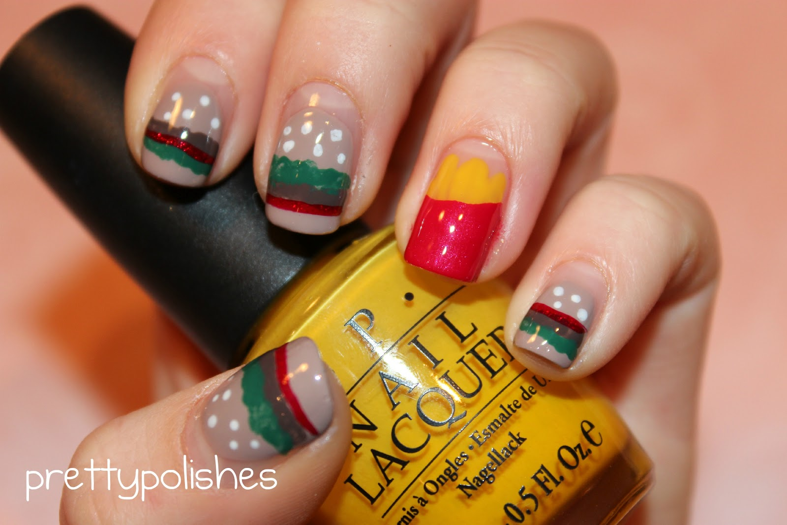 prettypolishes: Burger & Fries Nails