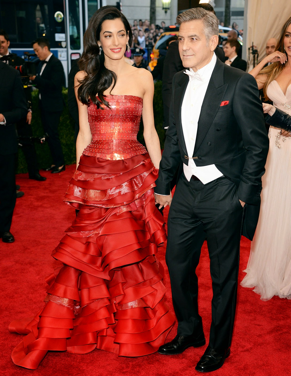 Amal Clooney stuns in a strapless gown at the 2015 Met Gala in NYC