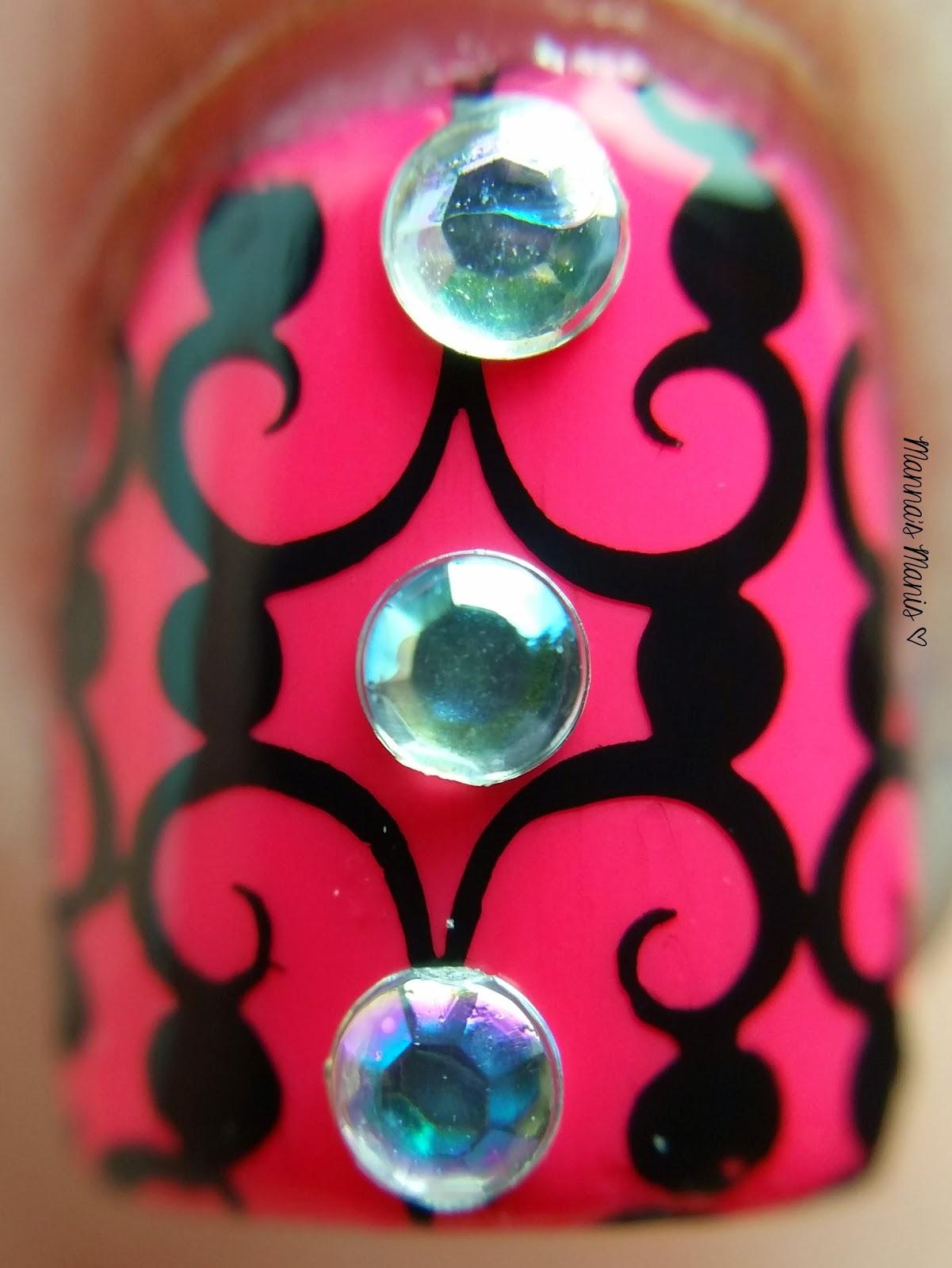 Nail stamping and rhinetones nail art using Zoya Layla and MoYou