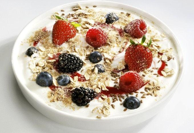 yogurt and oatmeal with fruits