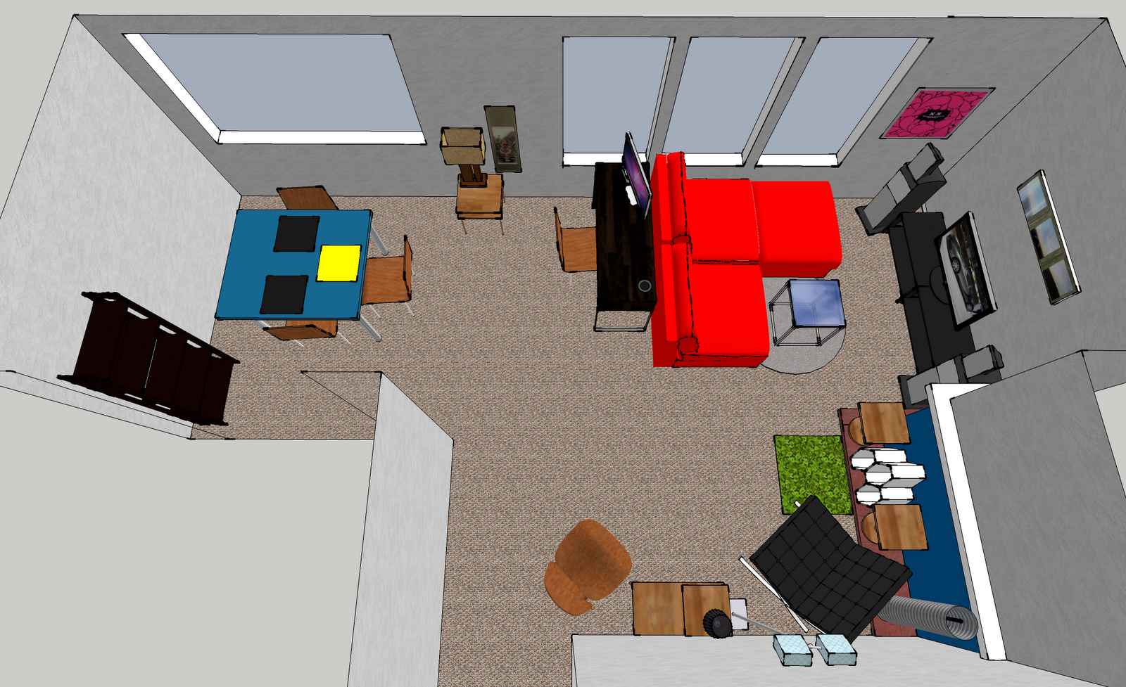 as a result i now have a sandbox to play with furniture layouts in the apartment see the current layout and several layouts im considering below apartment furniture layout